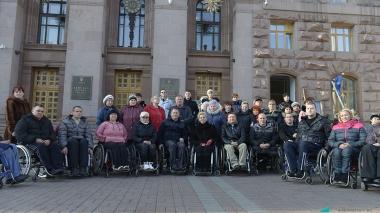 Акция инвалидов на Крещатике