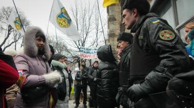 Вкладчики украинских банков пикетировали «бюджетный» комитет Рады