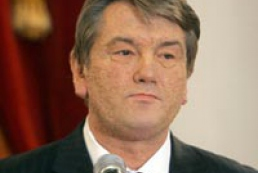 President Yushchenko greets defenders of Motherland