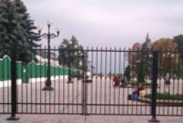 Indestructible fence around parliament this morning looks like new