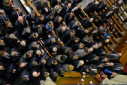 Party of Regions, Svoboda members fight in Parliament