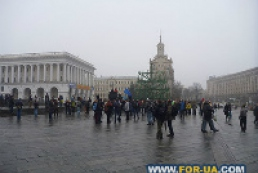 About 50 people continue to hold rally in Maidan Nezalezhnosti