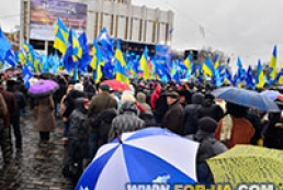 Party of Regions rally goes on in Yevropeiska Square