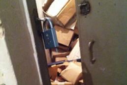 Door to KCSA storeroom with awards broken down