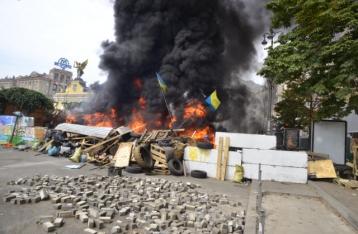В центре Киева сгорели три палатки