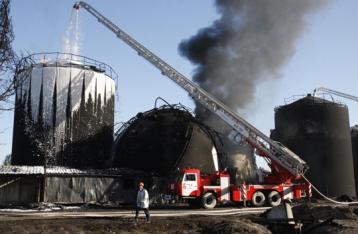 Спасатели потушил все очаги возгорания на нефтебазе под Киевом