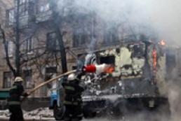 В Житомире горело авто водоканала с газовыми баллонами
