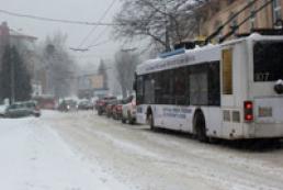 Из-за снегопада во Львове и Ривном встал общественный транспорт