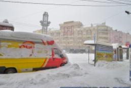 Киев в снегу: Городская электричка не ходит, а в магазинах нет хлеба